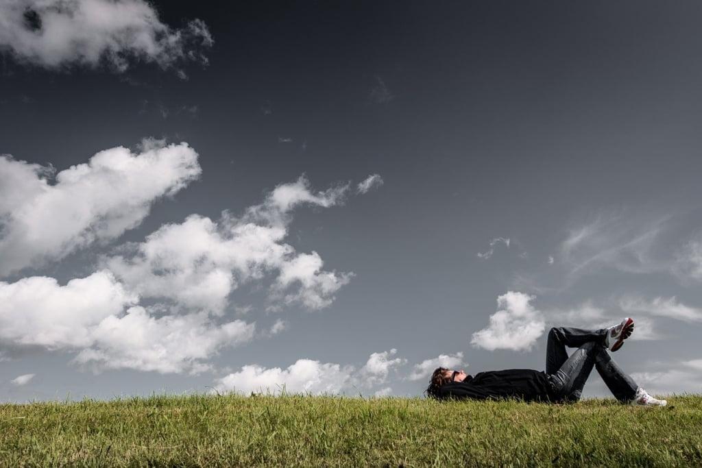 grass, lying, resting